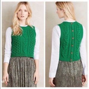 🍃Anthro Moth Fisherman Green Cropped Sweater Vest